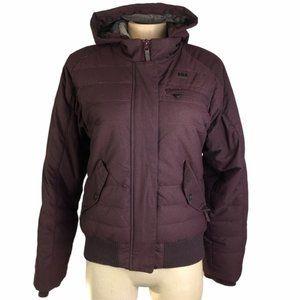 HELLY HANSEN Burgundy Goose Down Puffer Jacket
